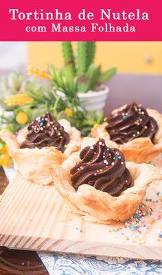 Tortinha de Massa Folhadaco Mousse de Nutella com Chocolate