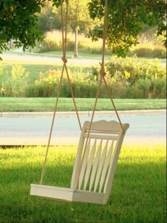Cute little swing made from a used chair