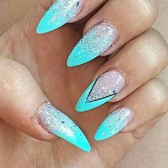Blue stiletto nals #blue #glitter #stiletto #nails