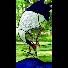 "Custom Made ""Messenger Of The Gods"" (Oriental Crane) Laundry Stained Glass Window"