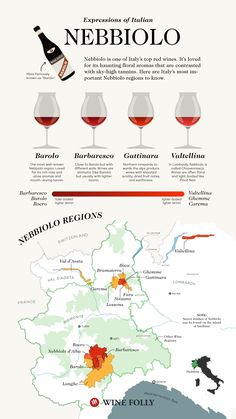 Nebbiolo Wine Regions names including Barolo and Barbaresco wine map by Wine Folly Wine Facts, Wine Varietals, Wine Tasting Notes, Wine Folly, Chateauneuf Du Pape, Barolo Wine, Wine Searcher, Wine Vineyards, Wine Education
