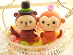 monkey and otter Wedding Cake Topper-love monkey and by kikuike