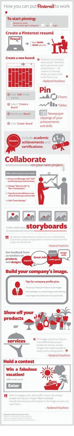 Infografía en inglés que muestra Cómo usar Pinterest para conseguir empleo y trabajar