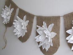 White Blossom Burlap Banner