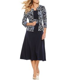 Jessica Howard 2-Piece Printed Jacket Dress | Dillard's Fit N Flare Dress, Fit And Flare, Grooms Mom Dress, Casual Dresses For Women, Dresses For Work, Shift Dresses, Womens Fashion Stores, Print Jacket, Navy Blue Dresses