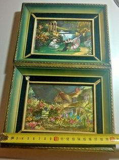 old paintings color image with wooden frame 2 pcs.