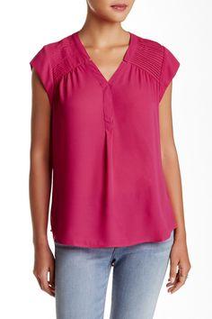 Pleated Shoulder Cap Sleeve Blouse by Daniel Rainn on Pin Tucks, Cap Sleeves, V Neck, Shoulder, Blouse, Nordstrom Rack, Womens Fashion, Model, How To Wear