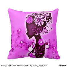 Vintage Retro Girl Airbrush Art Plush Throw Pillow