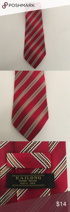 Men's silk tie 100% silk tie red/gold accent stripe Kailong Accessories Ties