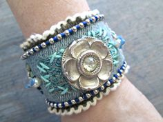 Denim bracelet  Boho Chic Jewelry  Wide Bracelet  di EarthChildArt