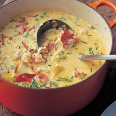 Lobster Corn Chowder by Patti B – Key Ingredient Lobster Bisque. The best of the ocean — and the kitchen — fits in one little bowl. As rich and delicious as lobster bisque soup can be, it's a lobster bisque recipe that beats all. Lobster Recipes, Seafood Recipes, Chowder Recipes, Best Corn Chowder Recipe, Swamp Soup Recipe, Fish Recipes, Chicken Recipes, Good Food, Yummy Food