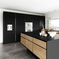 kitchen island modern black oak block