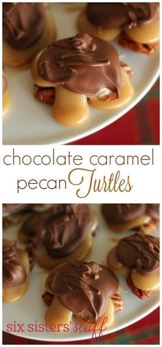 Chocolate Caramel Pecan Turtles recipe from These turtles make a great gift or dessert for your friends and loved ones. They are easy to make and look like you spent hours in the kitchen! Toffee, Caramel Pecan, Just Desserts, Delicious Desserts, Dessert Recipes, Health Desserts, Holiday Baking, Christmas Baking, Christmas Treats