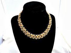 Vintage Monet Goldtone Carved Link  Choker Necklace by ediesbest, $14.99