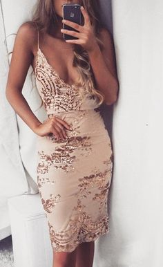 $54.99 Sequined Lace V-Neck Party Dress