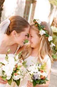 bride and flower girl shot