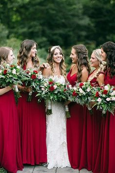 Red bridesmaid dresses Pinner 75 Festive Christmas Wedding Ideas Image Size 400 x 600 Board Name Wed Red Bridesmaids, Red Bridesmaid Dresses, Burgundy Bridesmaid, Christmas Bridesmaid Dresses, Winter Wedding Bridesmaids, Red Winter Weddings, Burgundy Wedding, Bridesmaid Colours, Deep Red Wedding