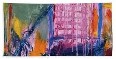 Abstract Beach Towel featuring the painting The Big Pink by Noa Yerushalmi