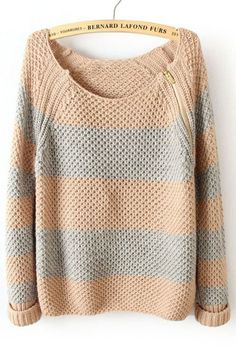 Striped Long Sleeve Zipper Sweater- i like the zippers