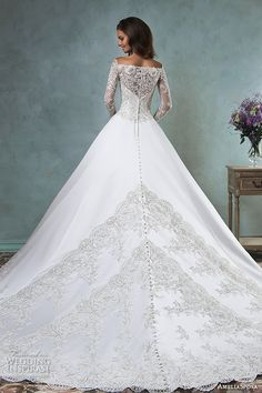 amelia sposa 2016 wedding dresses off the shoulder lace long sleeves embroideried bodice beautiful satin a line ball gown wedding dress canty back view