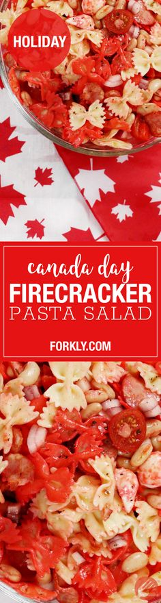 Canada Day Firecracker Pasta Salad : The Red & White and so delicious. Crockpot Recipes, Cooking Recipes, Pasta Recipes, Canada Day Party, Red Pasta, Easy Appetizer Recipes, Great Recipes, Delicious Recipes, Appetisers