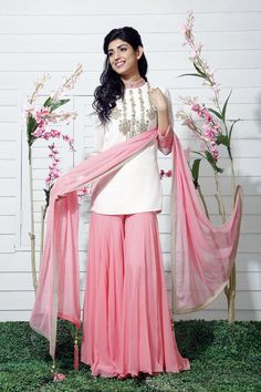 light sharara, white, pink, chiffon, roka outfit, sister of the bride, mehendi outfit, friend of the bride outfit,