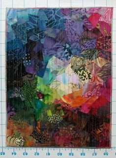 mini-quilt sewing scraps onto fusible batting