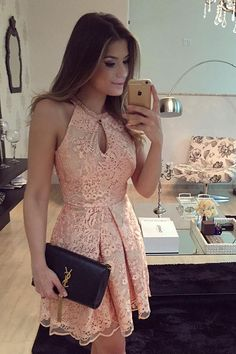 A-Line Halter Sleeveless Keyhole Short Pink Lace Homecoming Dress