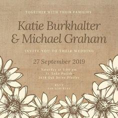 Brown Burlap And Flowers Wedding Invitation