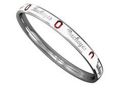 Show Your Buckeye Pride With Diamond Cellar's Exclusive Ohio State University Buckeyes Bangle Bracelet By Collegiate Jewel. White Enamel Over Sterling Silver With Red Lettering.  Price: $329