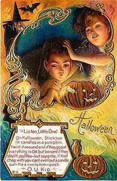 Halloween 1910 Jack o Lantern Test Romantic Couple O U Kid Vintage Postcard…