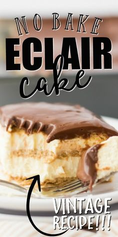 This easy eclair cake recipe tastes just like an éclair, only it's much easier to make. My favorite part is you don't ev No Bake Eclair Cake, Eclair Cake Recipes, Eclair Recipe, Easy Cake Recipes, No Bake Cake, Baking Recipes, Dessert Recipes, Cold Desserts, Mini Desserts
