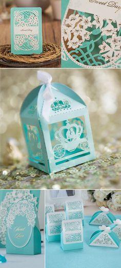 tiffany blue laser cut wedding favor bags Blue Wedding Centerpieces 56ffab936616