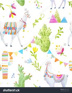 Watercolor pattern   a Tibetan llama, cacti, flags and mountains. Abstract flowers and leaves. Illustration of Alpaca. on a white background