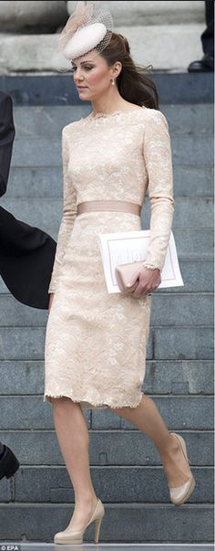 Pastel with lace overlay & grosgrain or any style natural sewn in belted waistline & hem hitting at the knee. Love the long sleeves as well. I might opt for 3/4 given my body style & desire for ease of movement