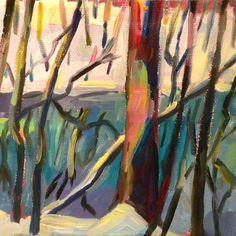MAgic of Winter 5x5 oil on canvas $75 by Elizabeth Fraser
