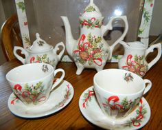 A Vintage Christmas Collectible 9 pc Tea SetBy Lily by ZiggyzAttic