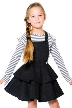 An adorable look that can be layered with any tee or top, the A Cat In A Hat Houndstooth Jumper adds ultra-girly style to any little girl's wardrobe. In a poly/wool blend with a houndstooth pattern, this grey skirtall features adjustable straps, a welt po Cute Kids Fashion, Little Girl Fashion, Toddler Fashion, Toddler Outfits, Girl Outfits, Girls Wardrobe, Kind Mode, Kids Wear, Houndstooth