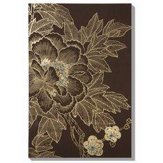 """Graham & Brown Lhasa Lotus - Choc Canvas Art - 36"""" X 24"""" - 40-011"""