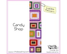 Peyote Stitch Pattern: Candy Shop - for cuff bracelet - pdf - 3 for 2 sale - Peyote Beading Patterns, Loom Bracelet Patterns, Peyote Stitch Patterns, Bead Loom Bracelets, Bead Loom Patterns, Loom Beading, Pixel Pattern, Candy Shop, Groomsmen
