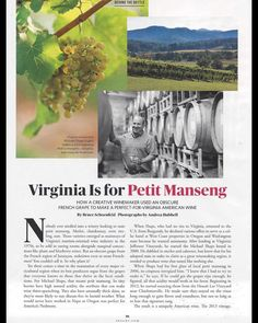 What a beautiful story on @MSwineworks and Petit Manseng in the Nov issue of @SAVEURMAG! On newsstands 10/16! #wine #virginiawine