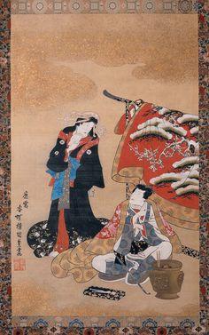 """Winter: Scene from """"Nise-Murasaki inaka Genji"""" (Parody of The Tale of Genji)…"""
