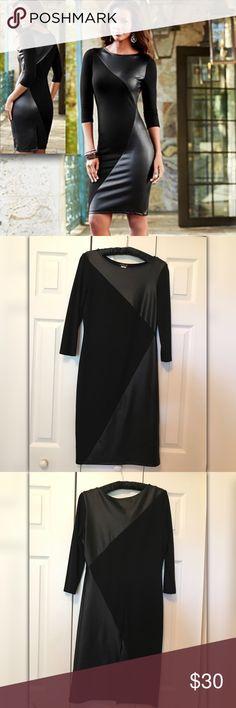 Venus Black Faux Leather Dress Venus Black Faux Leather Dress. Sexy Black Dress With Faux Leather Accents / 3/4 Sleeves / Slight Back Split / Above The Knee. VENUS Dresses