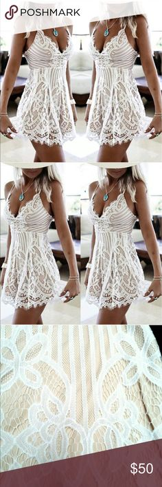 Sexy White Lace Boho Summer Dress This is a STUNNING dress!!! Sexy & beautiful white lace over nude stretchy lining with stretchy adjustable straps!! ✨SIZE M! 💓💓 I bought this on Posh from a Boutique and received today. Unfortunately, at 5'6 I'm just too tall for this dress to be worn outside the house 🙈🤷🏼‍♀️ it is BEAUTIFUL & exactly like I received it, minus the clear package. I opened it, tried it on, and hung it up in my closet! Please make offers and I also consider trades :-)…