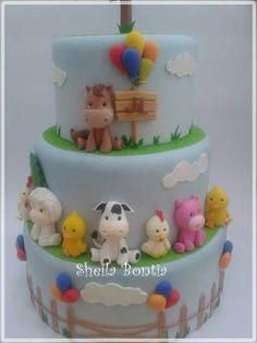 Cositas q me gustaron Baby Cakes, Baby Shower Cakes, Farm Birthday Cakes, Animal Birthday Cakes, Fondant Cakes, Cupcake Cakes, Farm Animal Cakes, Farm Cake, Novelty Cakes