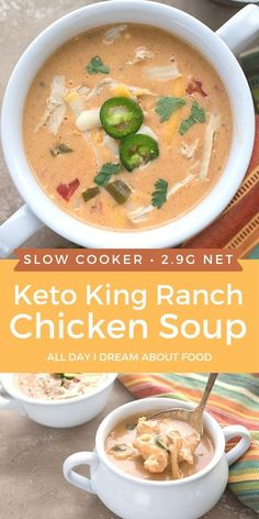 This cheesy keto chicken soup is so thick and creamy. All the best flavors from King Ranch Chicken in a hearty slow cooker soup recipe.