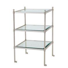 Aubrey Side Table - Gestell: Silber lackiert<br> Platten: geschliffenes Glas