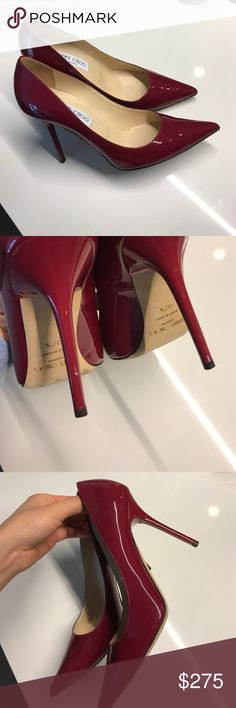 Jimmy Choo burgundy Anouk pumps - Size 37.5 100% guaranteed authentic beautiful classic patent leather heels. Worn 2x - small nicks on the heels and darkened bottom soles from wear. Uppers are shiny and clean with no marks. Comes with dust bag. Jimmy Choo Shoes Heels