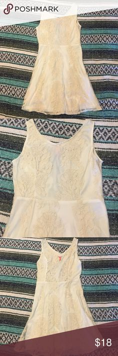 Ivory lace dress Really pretty white dress with an ivory lace overlay! Only worn once. Would be perfect for bridal showers, wedding rehearsal, etc! Chelsea & Violet Dresses
