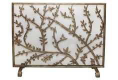 """31"""" Leaves Fire Screen, Gold"""